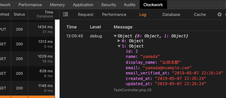 Clockworkでlaravelの変数の確認